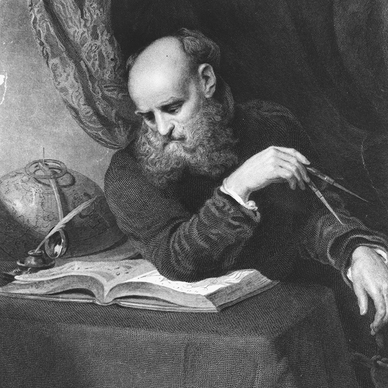 Illustration of the Italian astronomer, mathematician and natural philosopher Galileo Galilei, Circa 1630