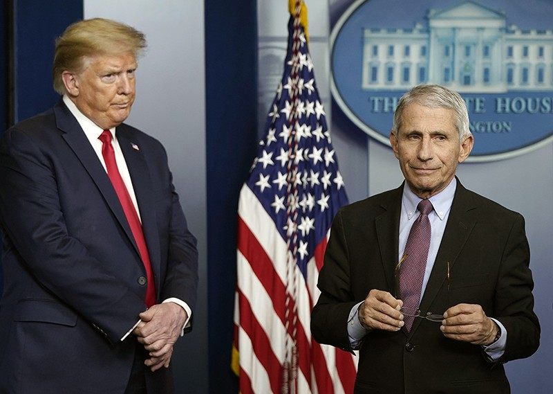 Anthony Fauci, right, and U.S. President Donald Trump at the daily coronavirus White House briefing
