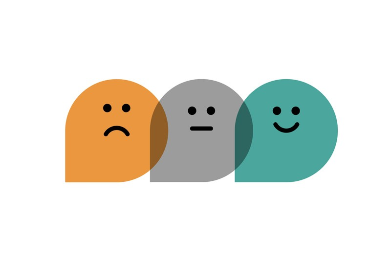 Illustration of three overlapping bubbles with a sad, neutral and smiling face