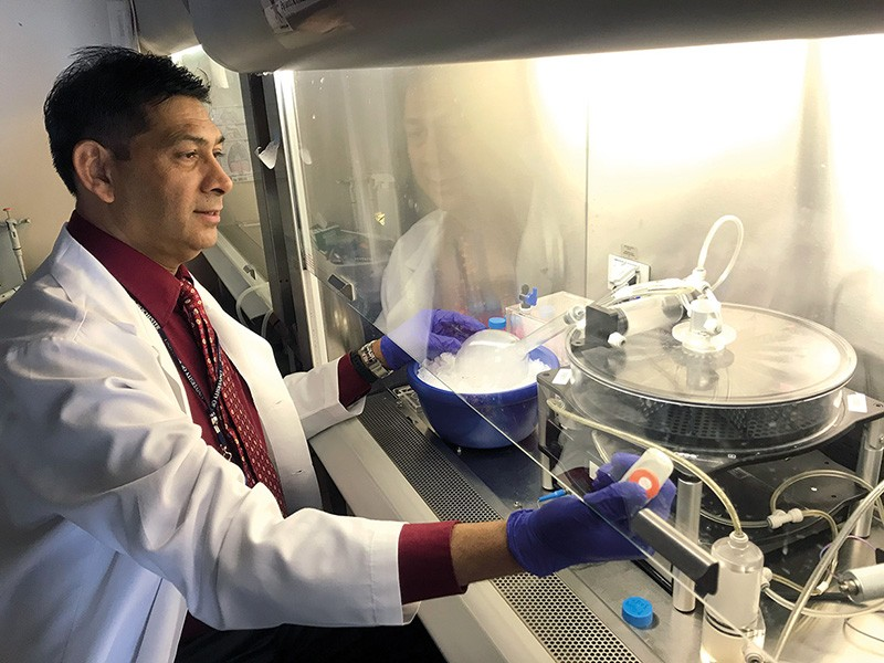 Irfan Rahman stands at a fume cupboard doing an experiment
