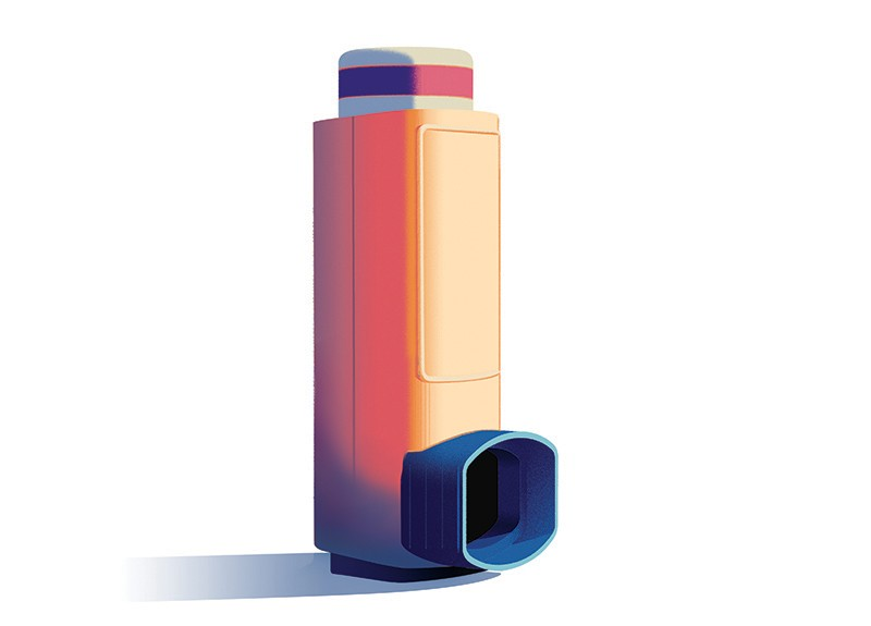 Drawing of a metered-dose inhaler