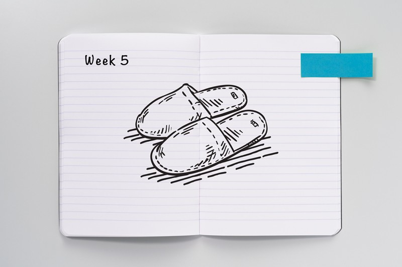 Sketch of slippers on an open notebook
