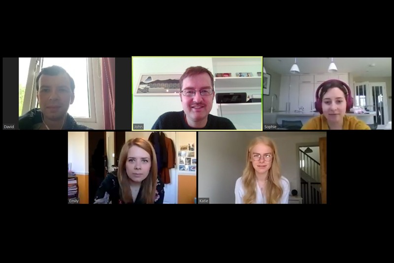 A screen grab of an online meeting with John's lab group