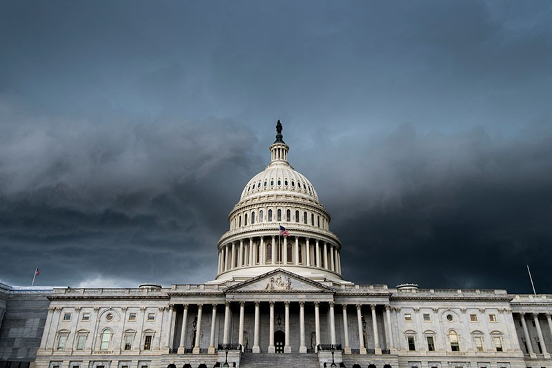 A thunderstorm passes over the US Capitol building