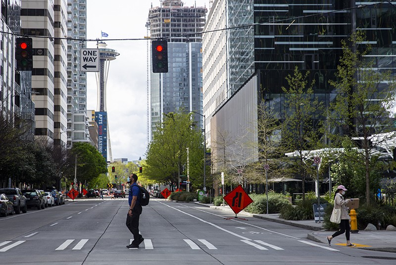 The nearly empty streets of downtown Seattle, Washington, USA