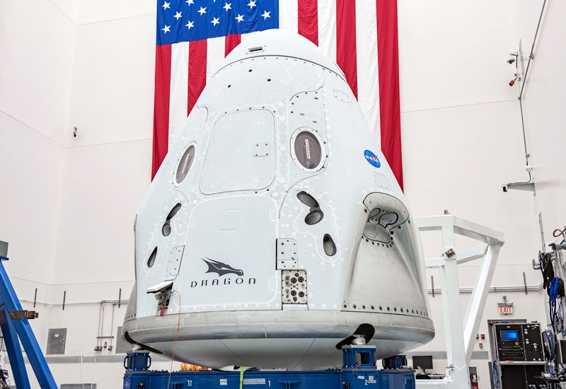 The SpaceX Crew Dragon spacecraft undergoes final processing at Cape Canaveral Air Force Station, Florida.