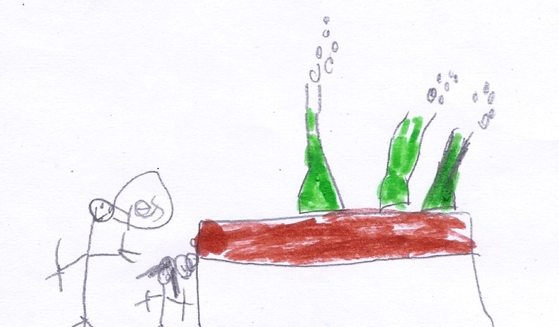 Child's illustration of an adult and child doing an experiment with bubbling green liquids in flasks