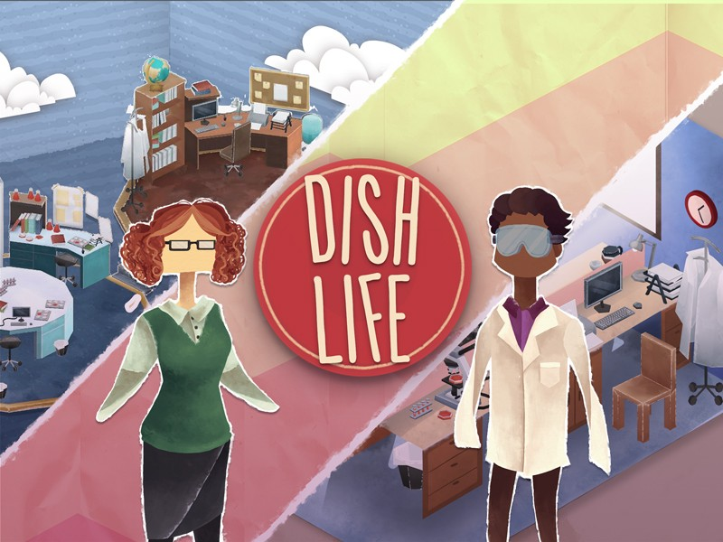 Cartoon of two scientists and their workspaces, next to a 'Dish Life' logo.