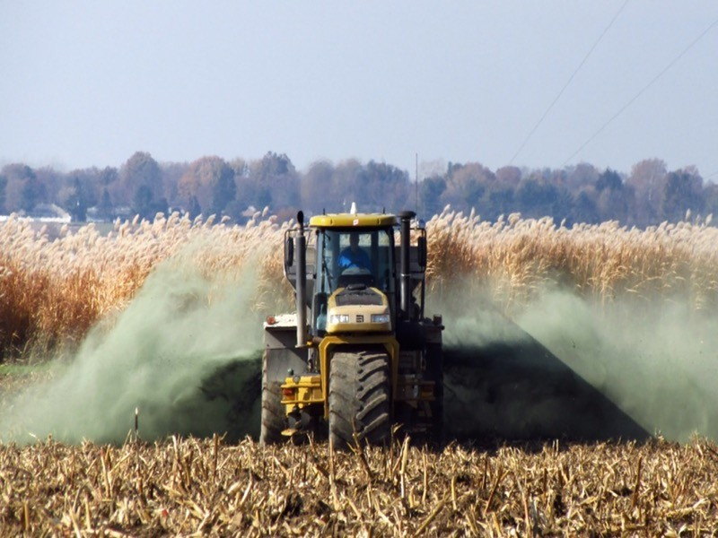 A large spreader applies basalt to recently harvested maize stover, with the bioenergy crop miscanthus in the background.