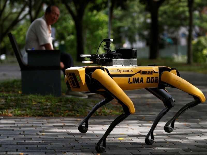 A four-legged robot dog called SPOT patrols a park, Singapore.