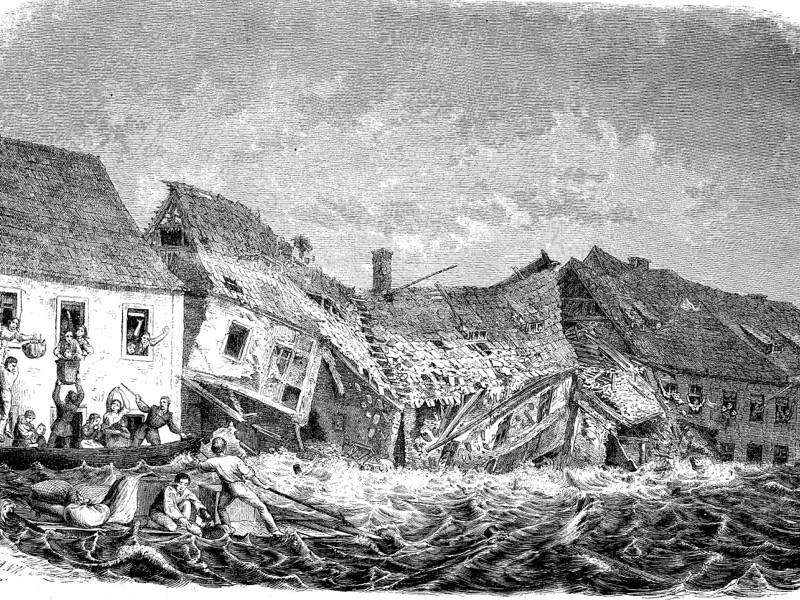 Streets in Glauchau during the flooding in 1854, Saxony, Germany.