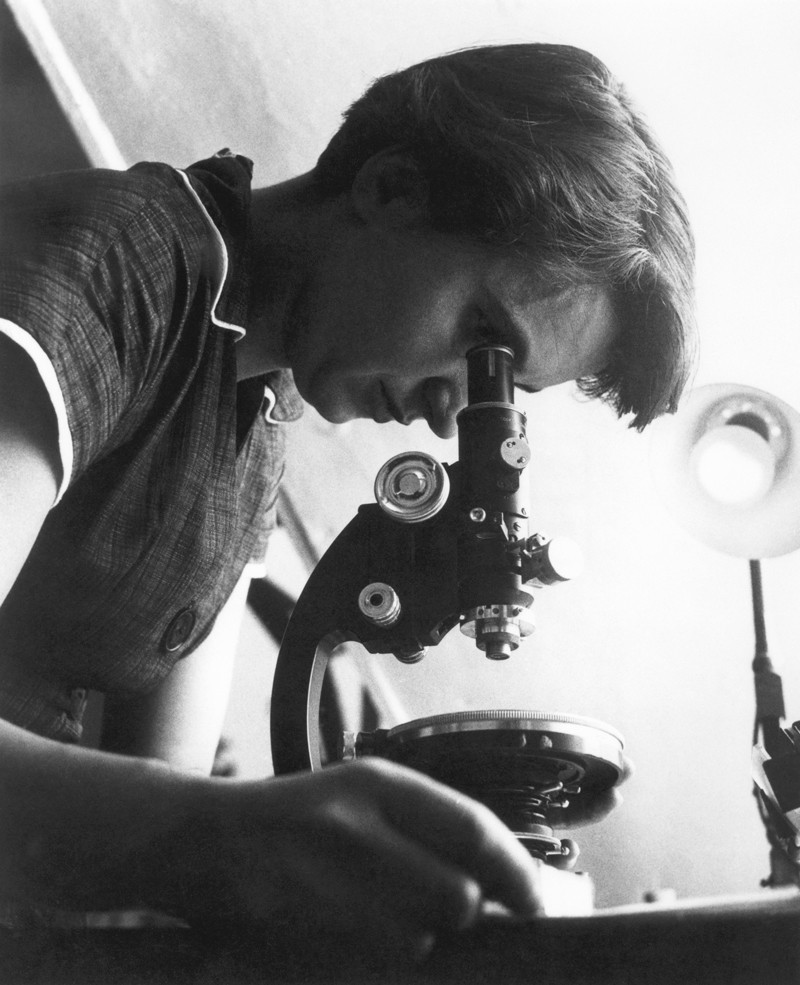 Portrait of Rosalind Franklin looking into a microscope