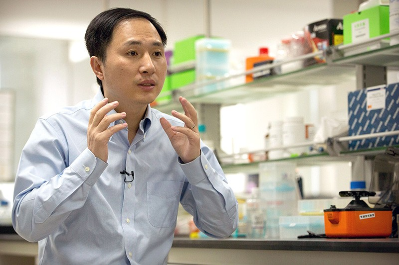 He Jiankui speaks at a laboratory in Shenzhen in southern China.