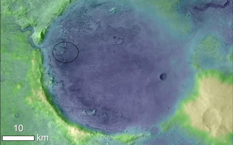 Elevation map of Jezero Crater on Mars, the landing site for NASA's 2020 Mars Perseverance rover.