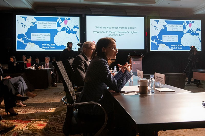 Margaret Hamburg participates as Secretary of Health of Human Services during the Clade X exercise in May 2018