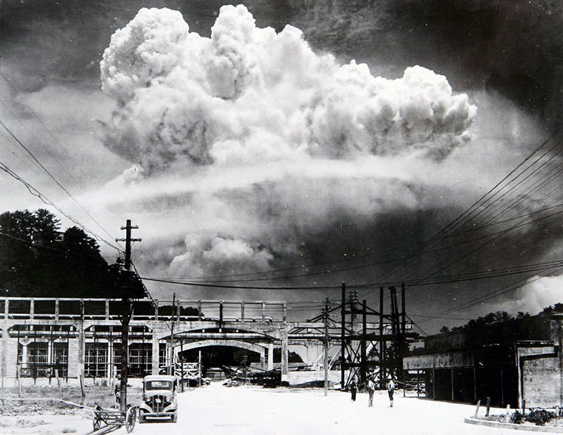 Atomic Bomb exploding over Nagasaki, Japan in 1945