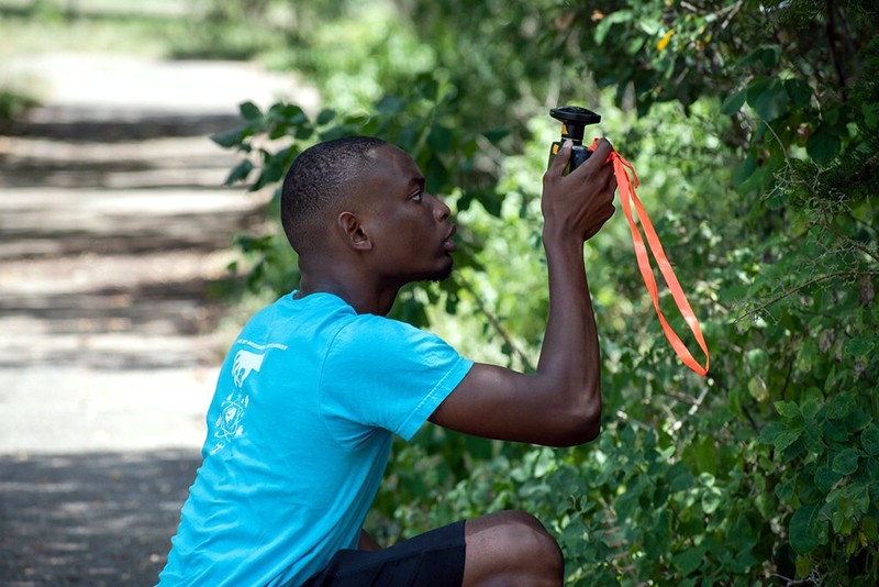 A man taking measurements of foliage.