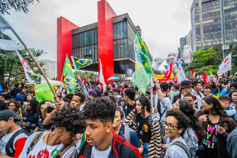 Protestors in Sao Paulo, Brazil
