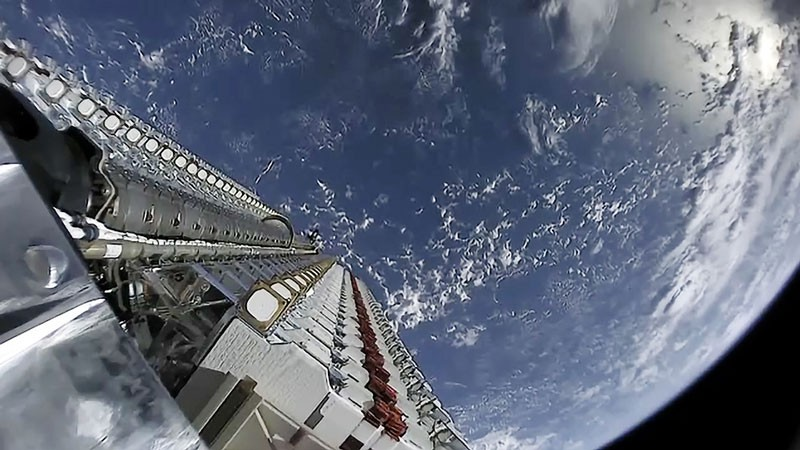 A view of Starlink satellites stacked together from space