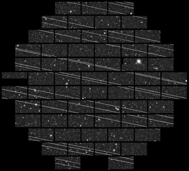 Starlink satellites imaged from a telescope at the Cerro Tololo Inter-American Observatory