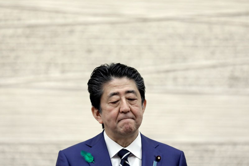 Shinzo Abe pausing during a news conference