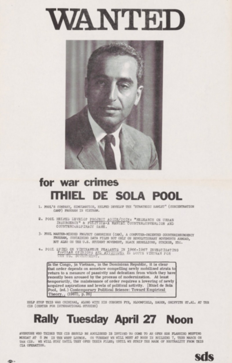 Wanted poster of Ithiel de Sola Pool.