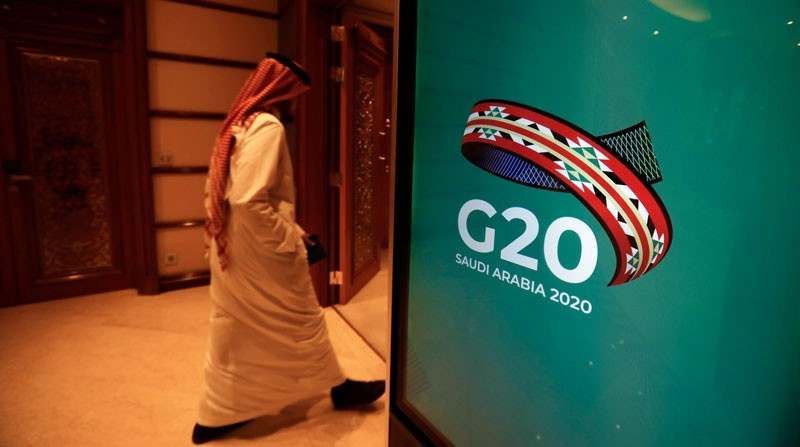 A Saudi man arrives at the hotel where the G20 meeting is set to take place