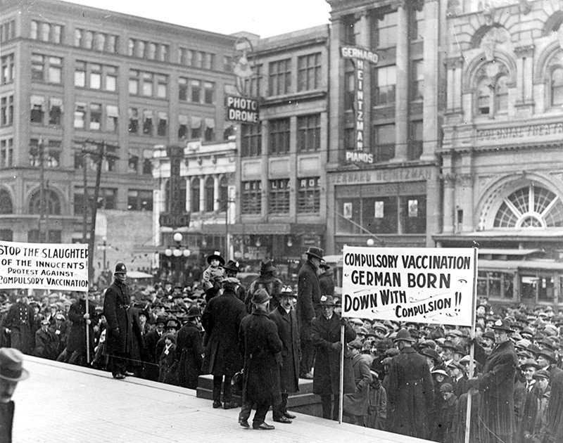 A demonstration against Dr. Hasting's health plan of vaccination against smallpox, Toronto, Canada