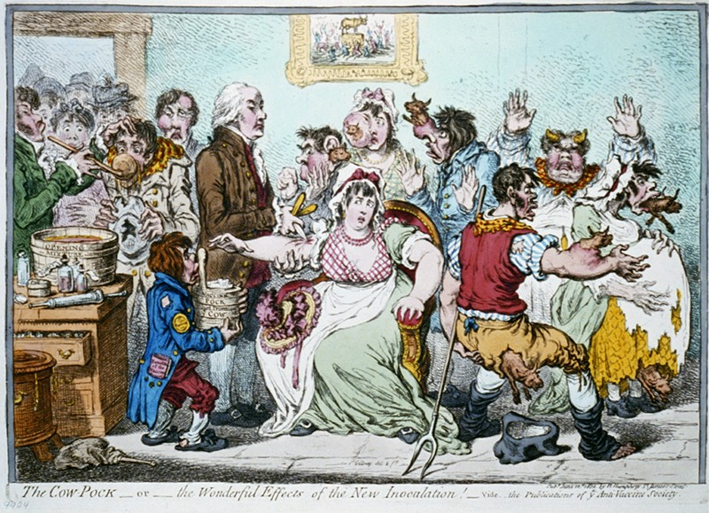 A caricature of a group of people showing early anti-vaccine sentiment