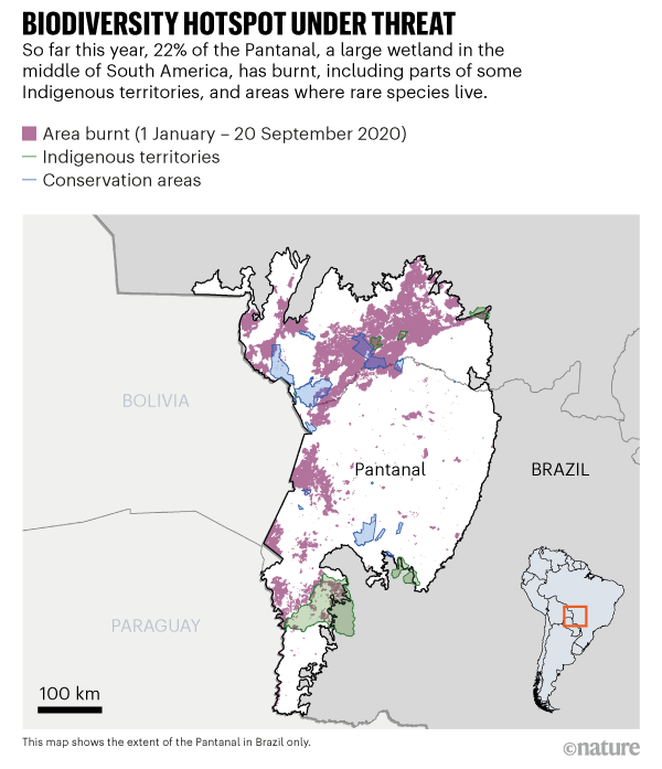 Map showing areas of the Pantanal, a large wetland in South America where wildfires continue to threaten habitats