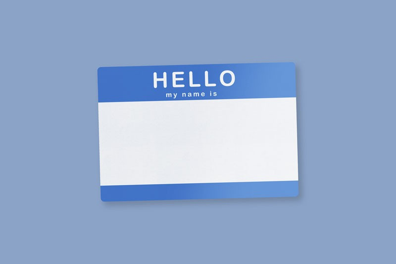 Blank name tag on a blue background