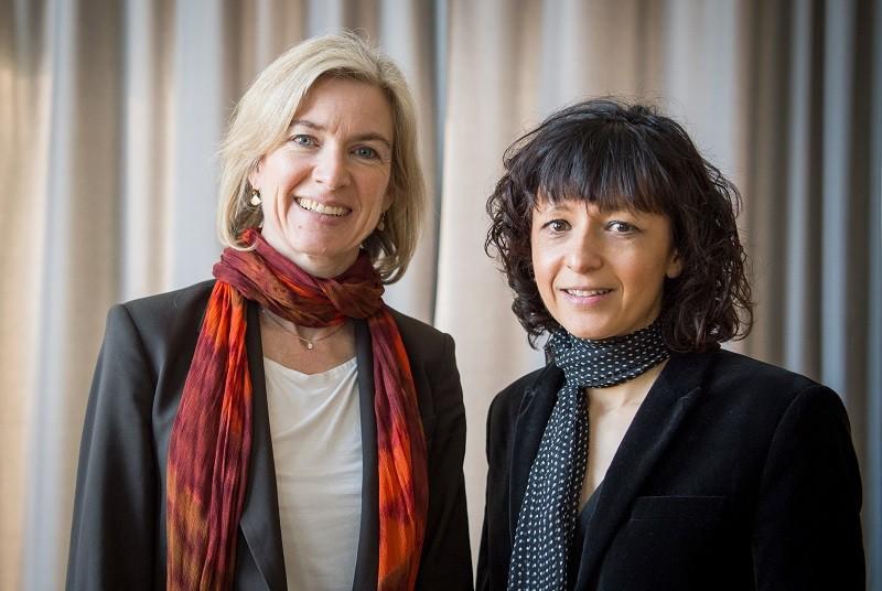Jennifer A. Doudna and Emmanuelle Charpentier pose together for a portrait