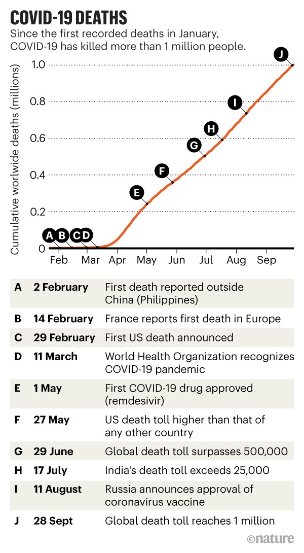 COVID-19 deaths: Line chart showing the cumulative worldwide deaths caused by COVID-19 in 2020.
