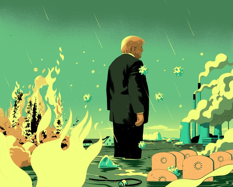 Cartoon of President Trump standing in the sea surrounded by viruses, burning trees, tombstones, broken beakers and pollution.
