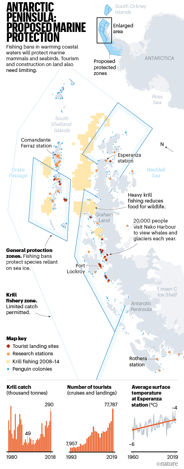 Antarctic Peninsula: Proposed Marine Protection. A map of the proposed protection zones.