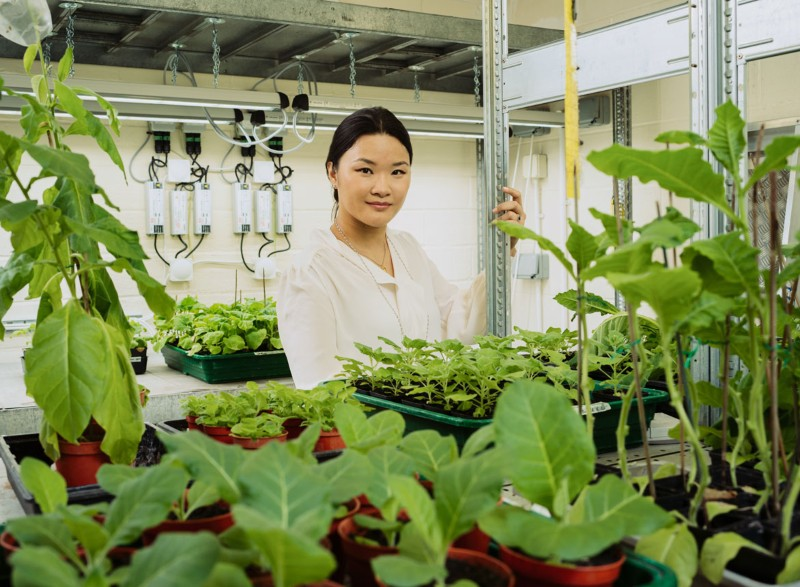 Audrey Teh poses for a portrait in an artificially lit room surrounded by seedlings growing in pots