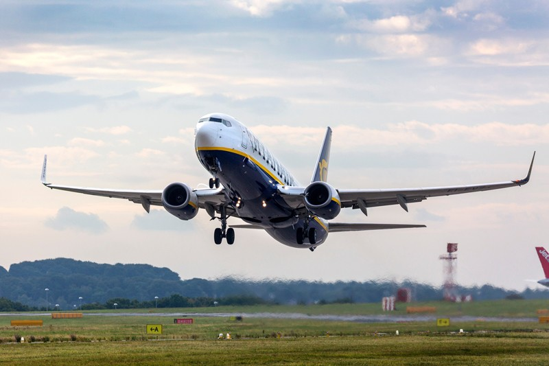 A Ryanair jet taking off from Leeds Bradford airport