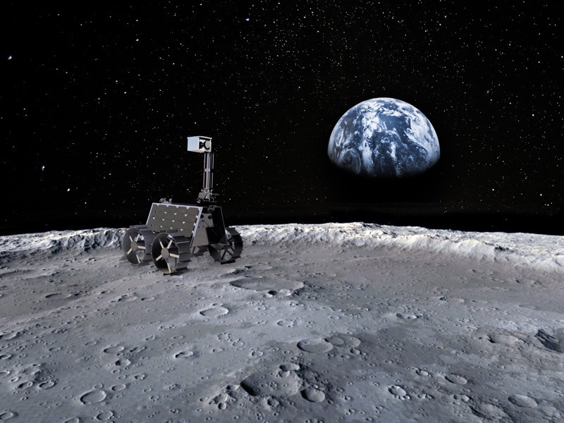 Emirates Lunar Mission. Artist impression of exact design of the new rover Rashid.