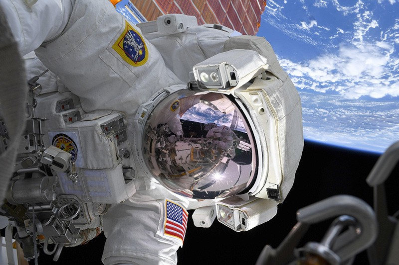Astronaut Christina Koch during a spacewalk on the ISS