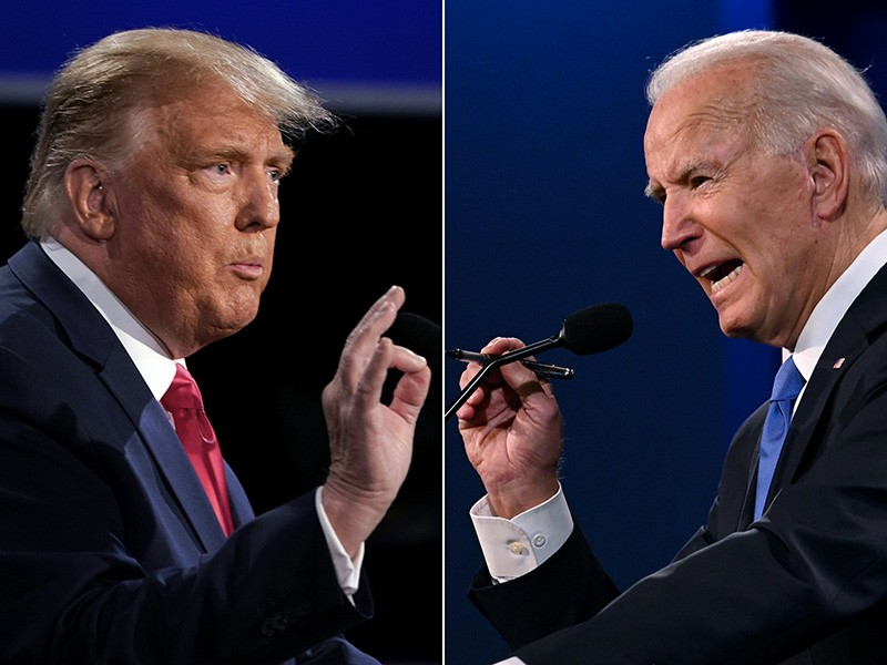US President Donald Trump, left, and former US Vice President Joe Biden at a debate
