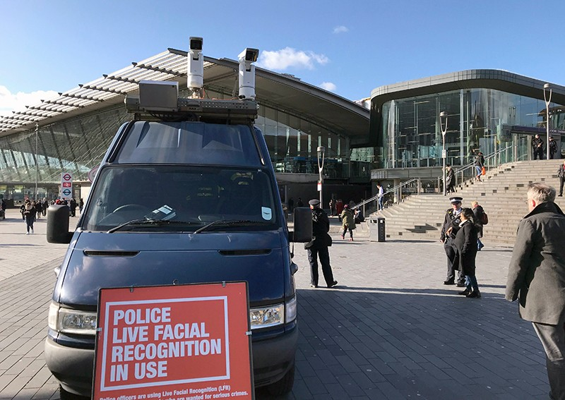 Police in London use facial recognition technology from a van