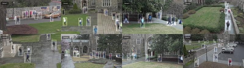 Still frames from the Duke MTMC (Multi-Target-Multi-Camera) CCTV dataset captured on Duke University campus in 2014.
