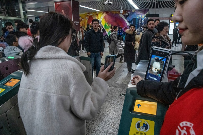 A facial-recognition scanning system at the entrance of the subway station in Zhengzhou, China