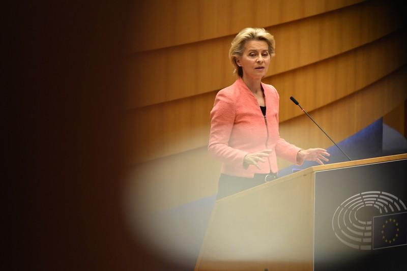 Ursula von der Leyen delivers a State of the Union address in the European Parliament in Brussels