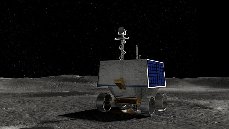 An artist's concept of NASA's Volatiles Investigating Polar Exploration Rover, or VIPER, drilling on the moon's surface