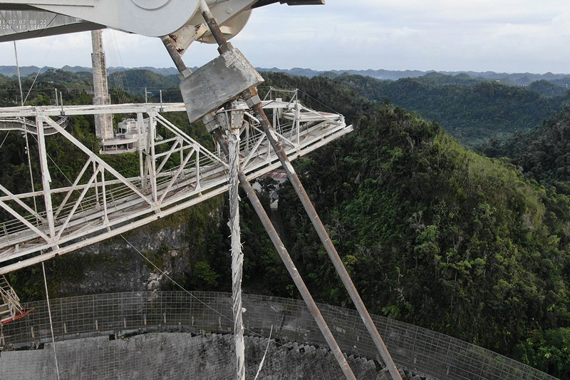 A fraying cable supporting the Arecibo Observatory radio telescope.