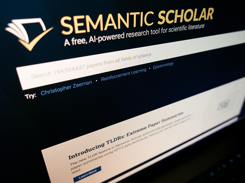 Computer screen with scientific search engine Semantic Scholar website.