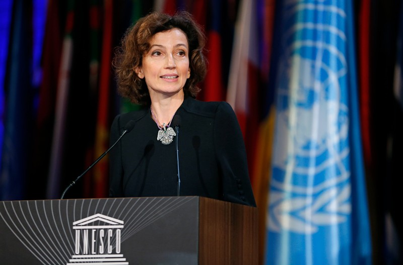 Audrey Azoulay, Director-General of UNESCO, giving a speech