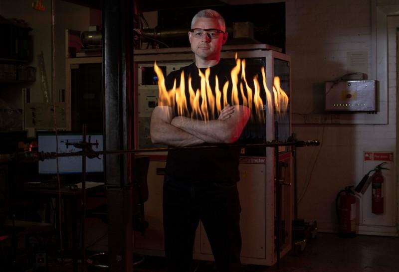 Luke Bisby stands in his lab at University of Edinburgh.