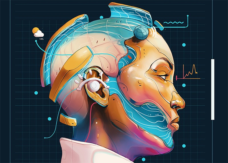 Illustration of person with AI augmentations